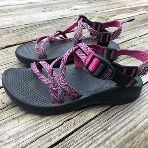 Chaco strapy pink and purple adjustable sandals